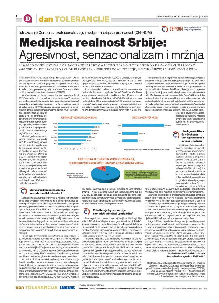 Medijska realnost Srbije - Agresivnost, senzacionalizam i mržnja - CEPROM