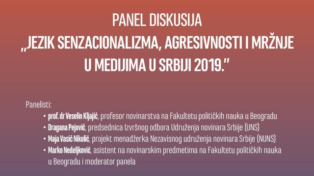 CEPROM PANEL DISKUSIJA Jezik senzacionalizma, agresivnosti i mržnje u medijima u Srbiji 2019.